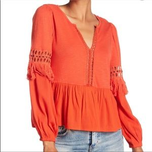 Boho Lucky Brand Top with Tassels